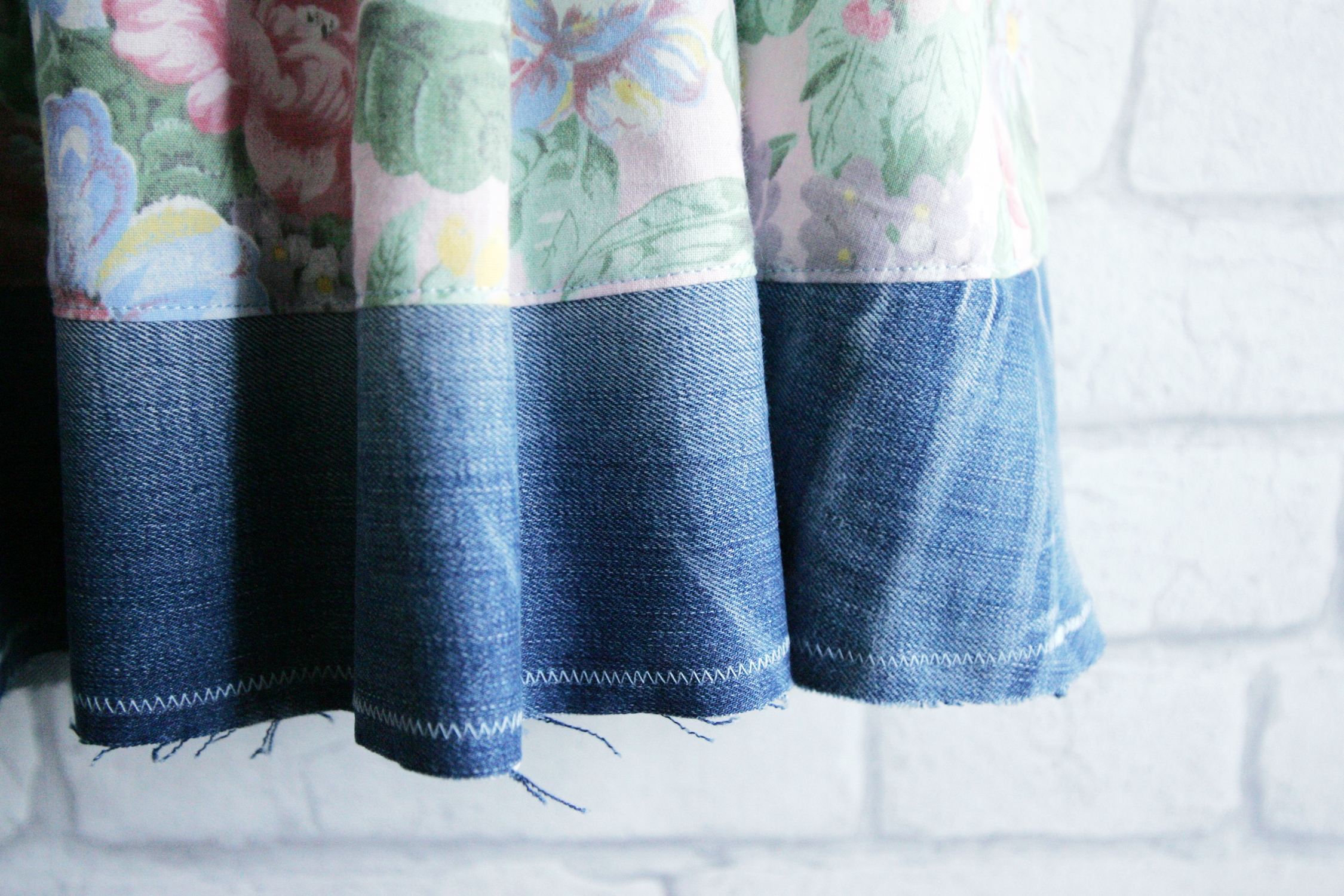 Unfinished hem is perfect for denim.