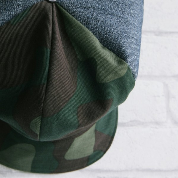 newsboy hat camouflage and denim